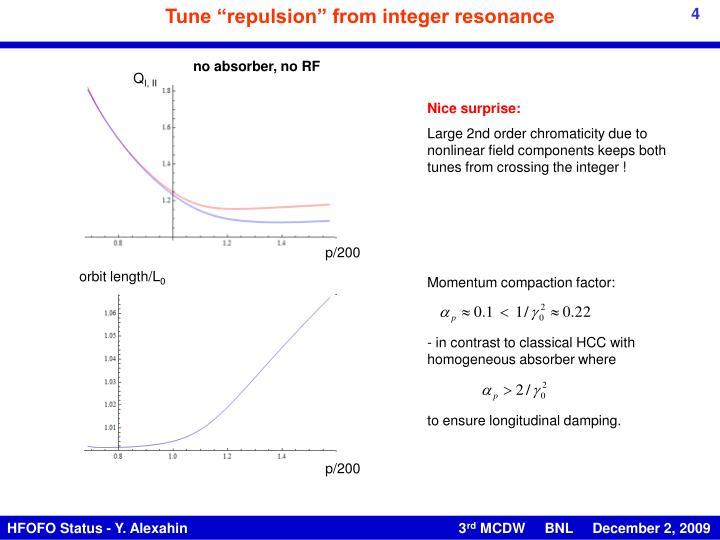 "Tune ""repulsion"" from integer resonance"