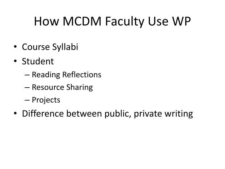 How MCDM Faculty Use WP