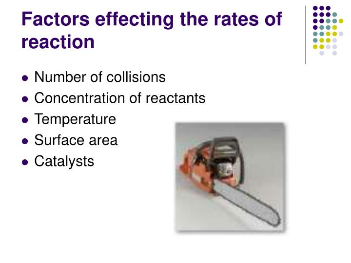 Factors effecting the rates of reaction