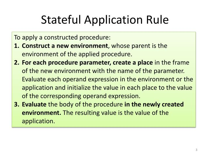 Stateful application rule