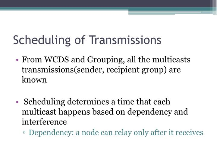 Scheduling of Transmissions