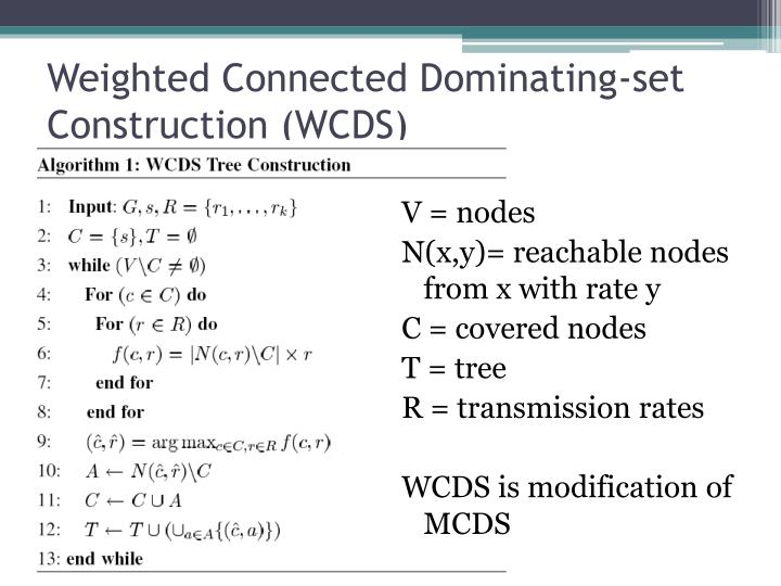 Weighted Connected Dominating-set Construction (WCDS)