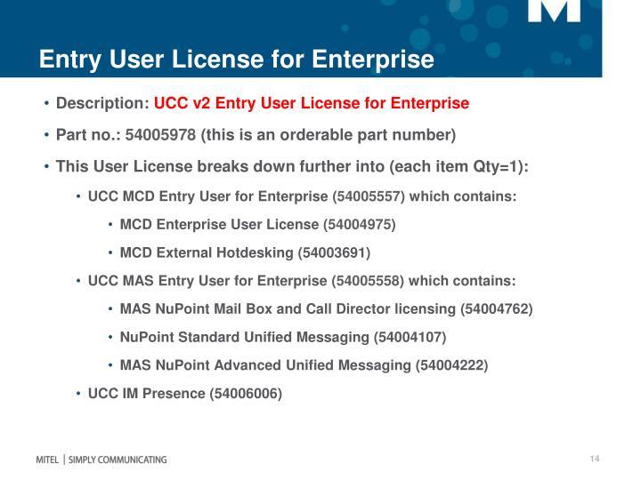 Entry User License for Enterprise