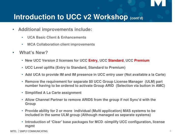 Introduction to UCC v2 Workshop
