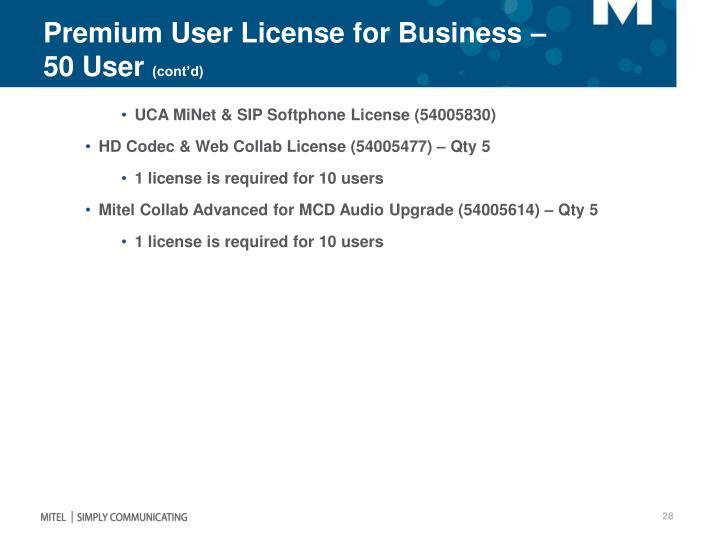 Premium User License for Business – 50 User