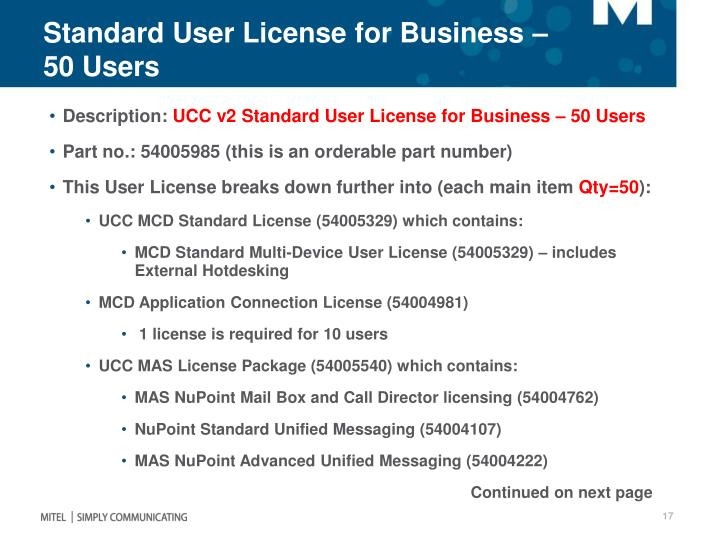 Standard User License for Business – 50 Users