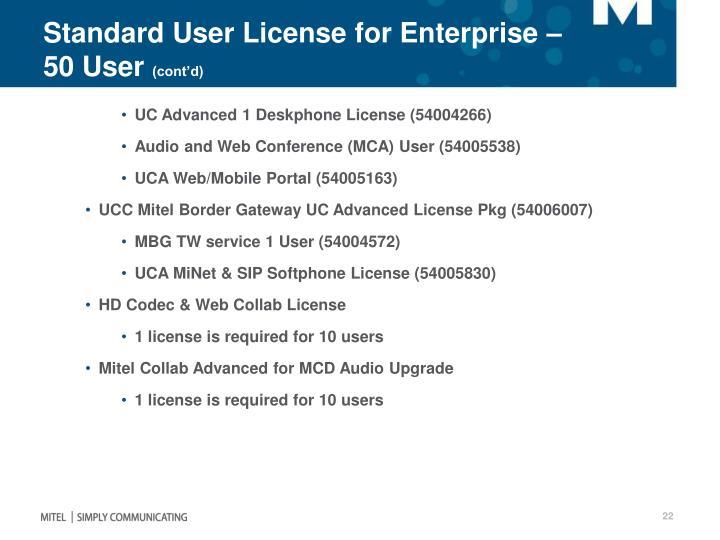 Standard User License for Enterprise – 50 User