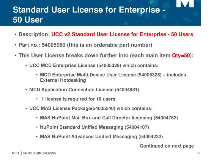 Standard User License for Enterprise - 50 User