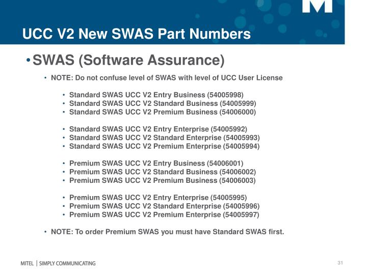 UCC V2 New SWAS Part Numbers