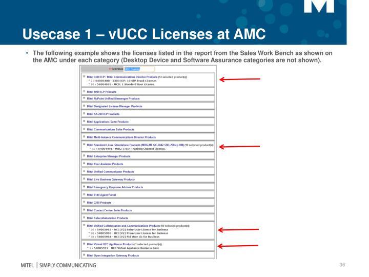 Usecase 1 – vUCC Licenses at AMC