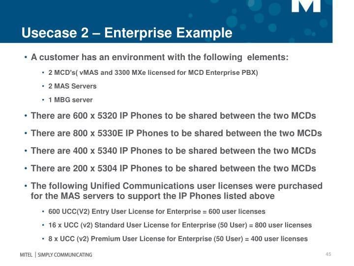 Usecase 2 – Enterprise Example