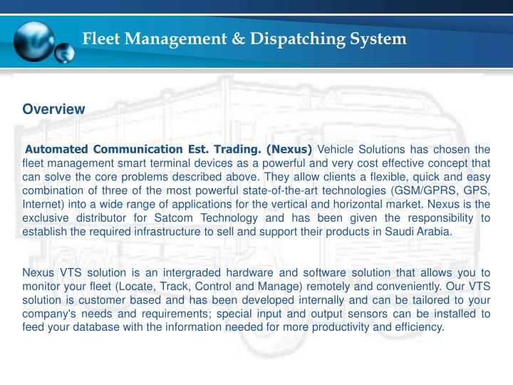 Fleet management dispatching system