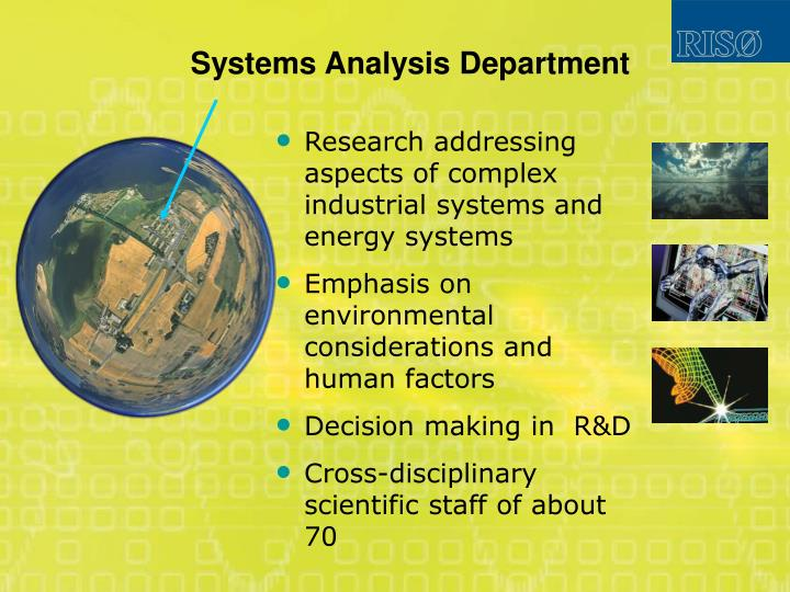 Systems Analysis Department
