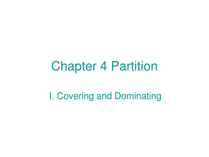 Chapter 4 Partition