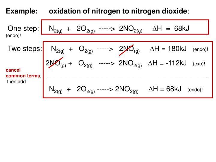 Example:oxidation of nitrogen to nitrogen dioxide