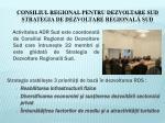 consiliul regional pentru dezvoltare sud strategia de dezvoltare regional sud