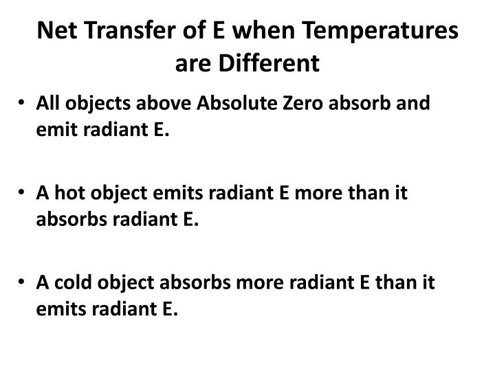 Net Transfer of E when Temperatures are Different
