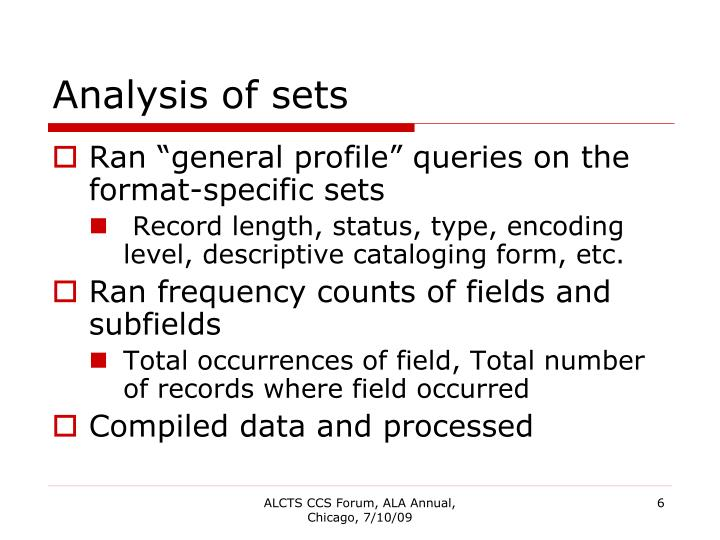 Analysis of sets
