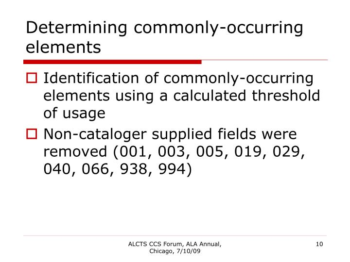 Determining commonly-occurring elements