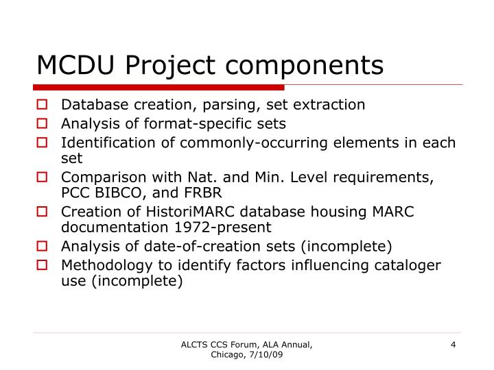 MCDU Project components