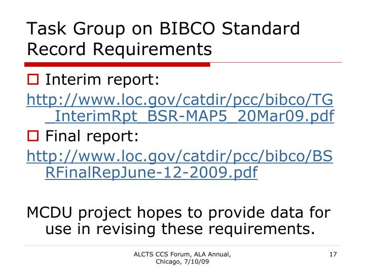 Task Group on BIBCO Standard Record Requirements