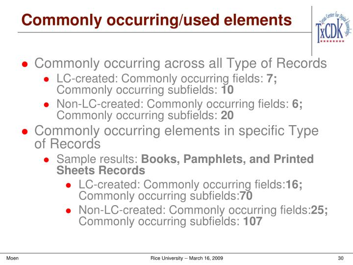 Commonly occurring/used elements