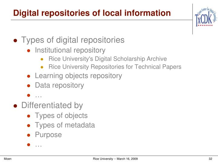 Digital repositories of local information