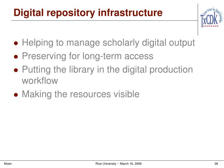 Digital repository infrastructure