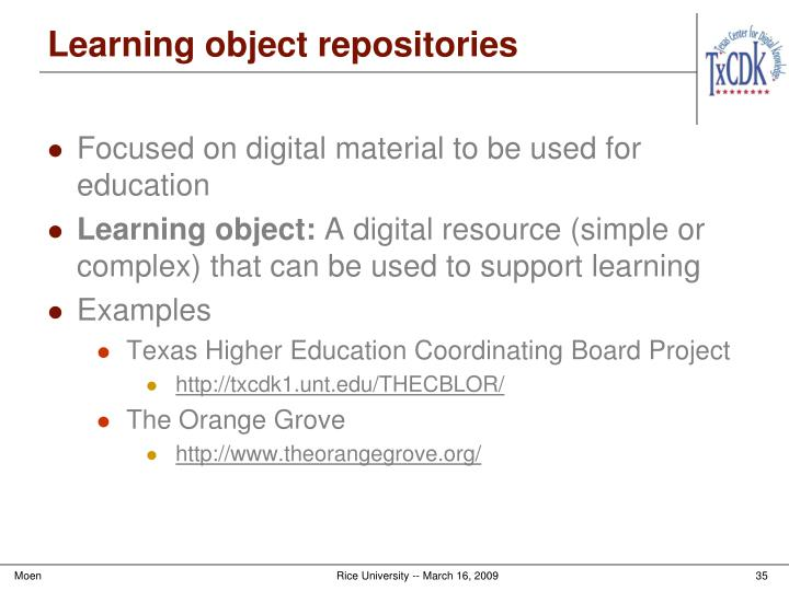 Learning object repositories
