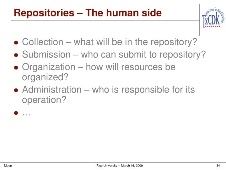 Repositories – The human side
