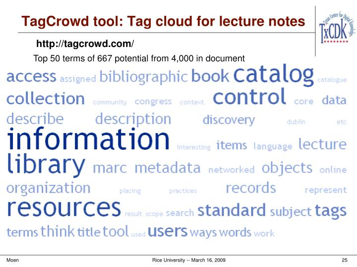 TagCrowd tool: Tag cloud for lecture notes