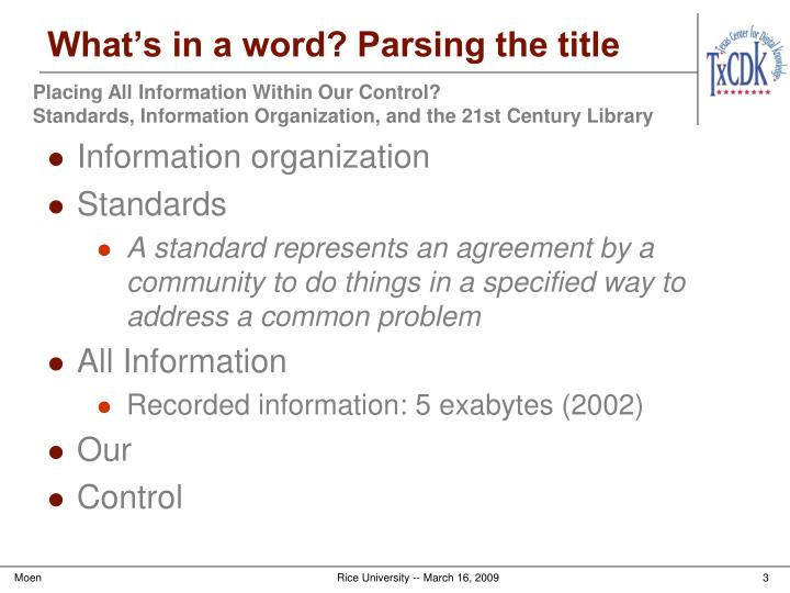 What's in a word? Parsing the title