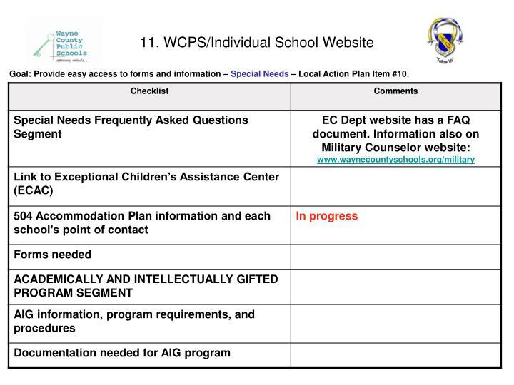 11. WCPS/Individual School Website