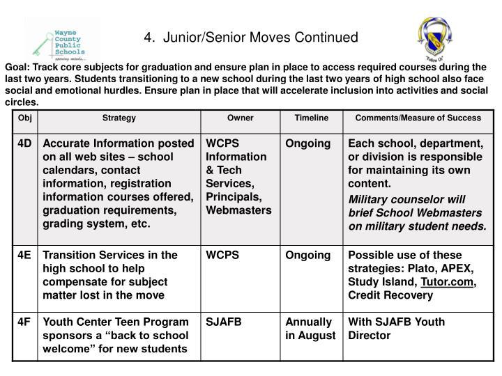 4.  Junior/Senior Moves Continued