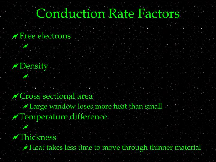Conduction Rate Factors