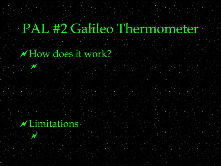 PAL #2 Galileo Thermometer