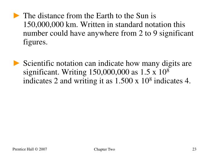 The distance from the Earth to the Sun is 150,000,000 km. Written in standard notation this number could have anywhere from 2 to 9 significant figures.