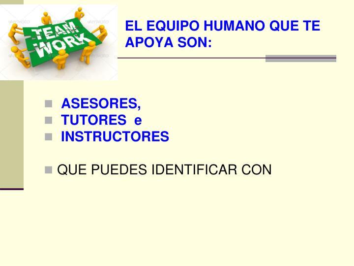 EL EQUIPO HUMANO QUE TE APOYA SON: