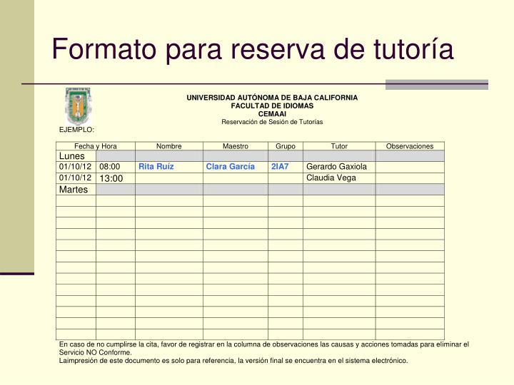 Formato para reserva de tutoría