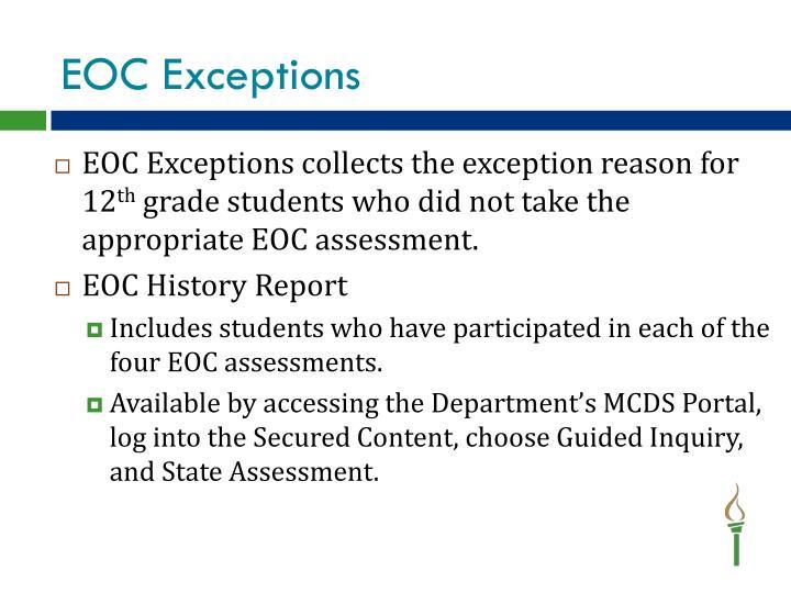 EOC Exceptions