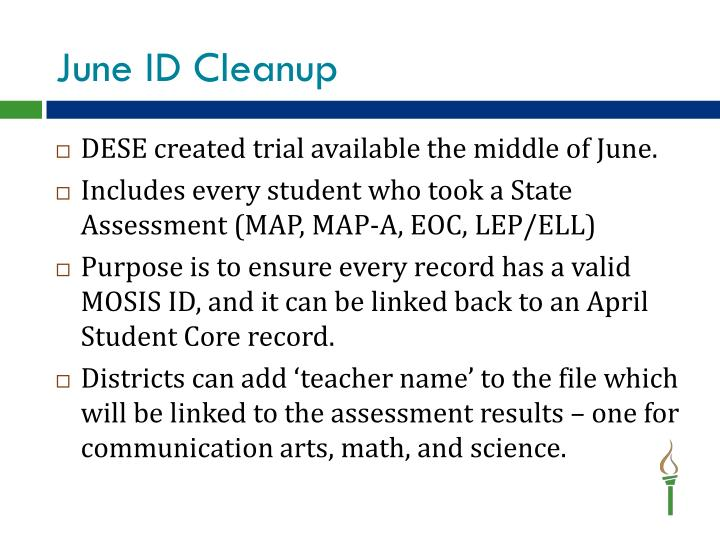 June ID Cleanup