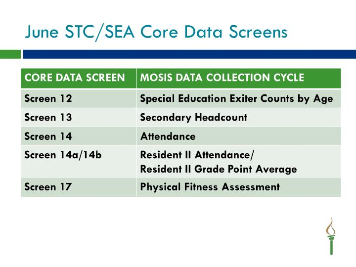 June STC/SEA Core Data Screens