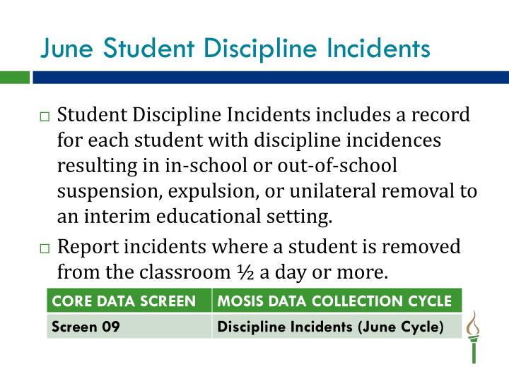 June Student Discipline Incidents