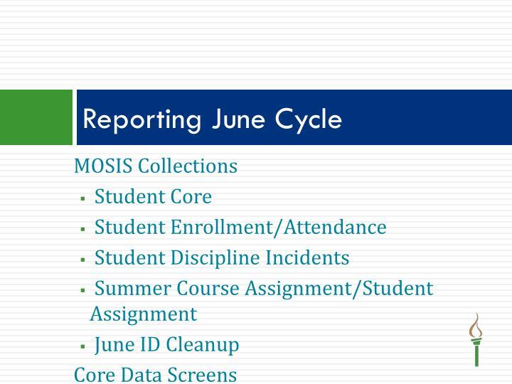 Reporting June Cycle
