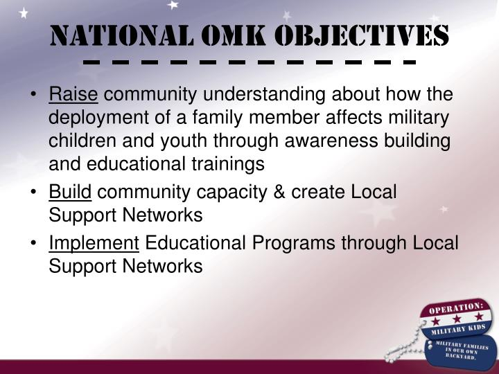 NATIONAL OMK OBJECTIVES