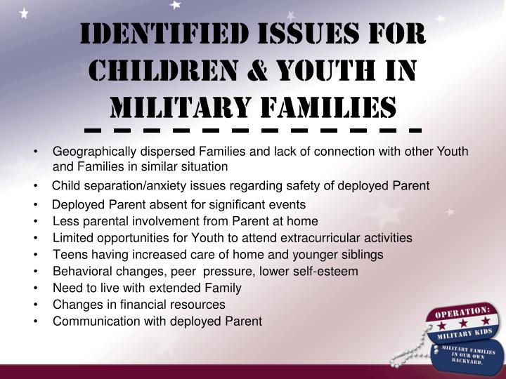 Identified Issues for Children & Youth in Military Families