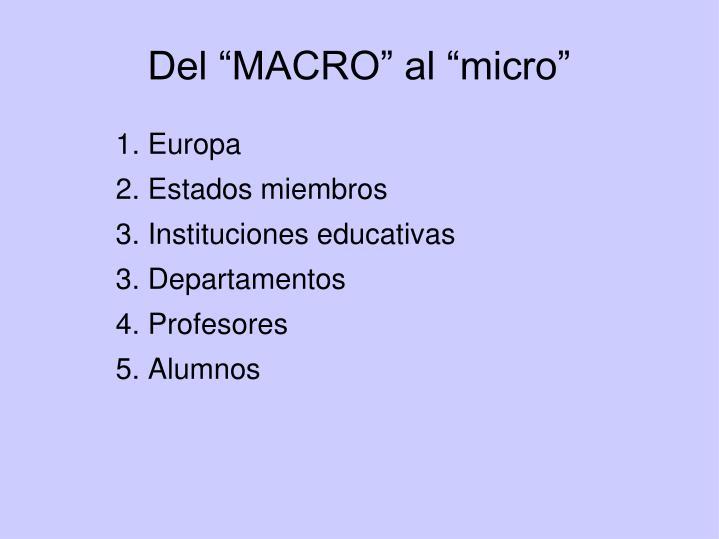"""Del """"MACRO"""" al """"micro"""""""