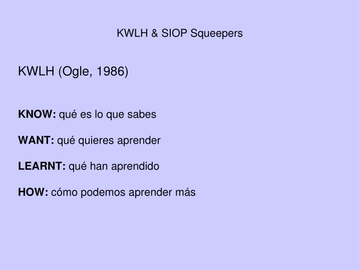 KWLH & SIOP Squeepers