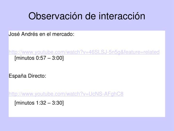 Observación de interacción