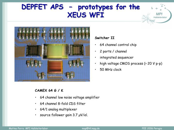 DEPFET APS  –  prototypes for the XEUS WFI